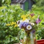 bouquet of summer flowers and healing herbs in jug on windowsill