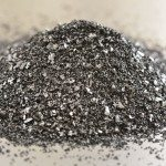 Heap of activated charcoal on a steel background