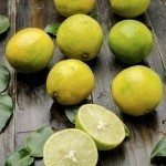 Fresh lime on wooden background,food ingredient