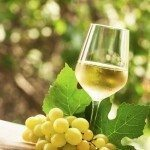 Coid white wine and green grapes on natural blurred background with bokeh, selective focus