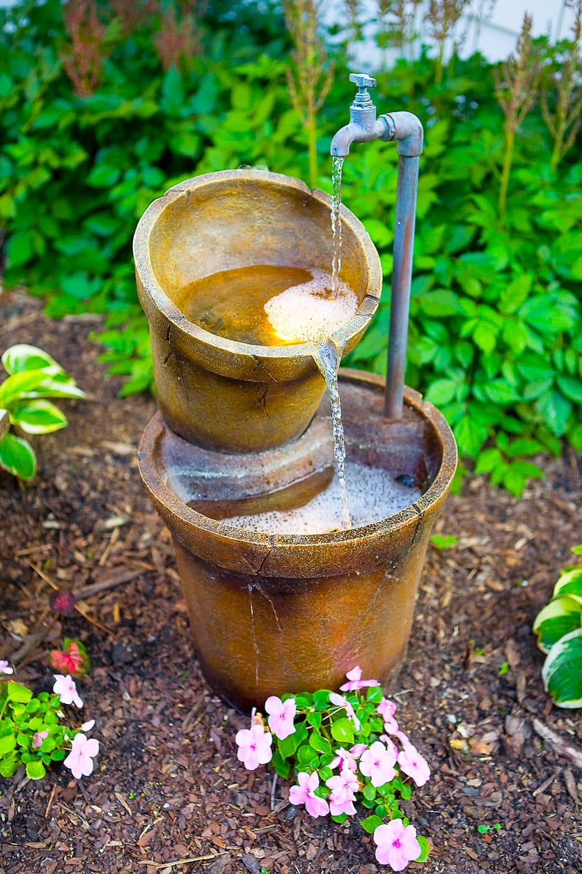 Upcycled water features how to make your own garden fountain - Garden water feature ideas ...