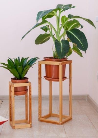 Mini Ceramic Pot Plant Stand Indoor Decor Flower Planter Display Holder Bamboo